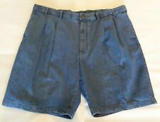 Roundtree & Yorke Size 44 EXPANDER WAISTBAND Jean Denim Pleated New Mens Shorts
