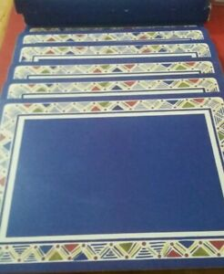 Pimpernel Casual Dining 6 Placemats in Box. Blue. Cork Backed. Maroc. Geometric.