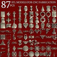 87 pcs set decors 3d stl models  for CNC Router Artcam Aspire