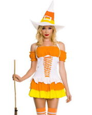 WITTY CANDY CORN CUTIE WITCH  S/M Sexy Deluxe Women's Music Legs Witch Costume