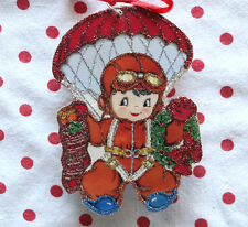 Glittered Wooden Christmas Ornament ~Parachute Boy ~ Vintage  Card Image ~1940's