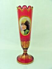 VERY LARGE ANTIQUE BOHEMIAN MOSER GLASS PORTRAIT VASE RED CRANBERRY SUPERB GOLD