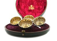 Antique Victorian Sterling Silver Salt Cellars & Spoons Cased Mappin & Webb 1899