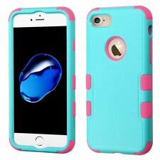 Asmyna TUFF Hybrid Protector Cover for iPhone 7 - Teal Green/Electric Pink