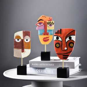 Abstract Face Resin Statue Crafts Sculpture Ornament Art Office Home Decoration