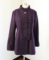 Tulle Womens Plum Purple Ruffle Front Wool Blend Jacket Coat Size L