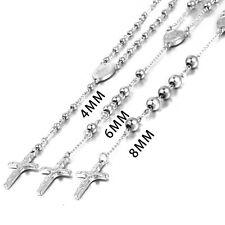 MENDINO Men's Stainless Steel Rosary Beads Necklace Crucifix Cross Jesus Pendant