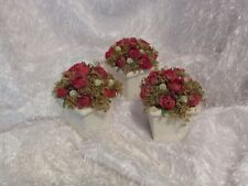 """3 white flower pots w/red artificial roses approx 4.5"""" tall (a)"""