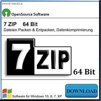 WINZIP, ZIP, UNZIP, 7zip, RAR, Packprogramm für Software Dateien Packen, 64 Bit