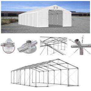 LAGERZELT 4x6m - 8x12m Industriezelt PVC 560g/m2 Lagerhalle Weidezelt Unterstand