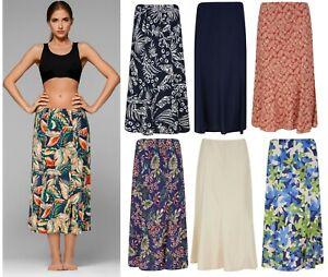 Ladies Women's Skirt LINEN Spring Summer Maxi Ex Store Patterned Plain Size  NEW