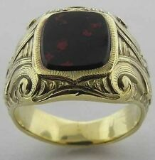 GENTS 14K YELLOW GOLD VICTORIAN BLOODSTONE SIGNET RING SIZE 8