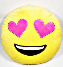 Top Trenz Emoji Almohada Rosa Corazones Ojos Amarillo Cojín, 35.6x35.6cm