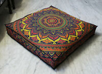 "Large 35"" Square Floor Pillow Cover Floral Mandala Cushion Covers Dog Bed Cover"