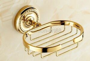 Gold Color Brass Wall Mounted Soap Dish Holder Bathroom Accessory fba607