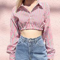 Women Sexy Casual Cuffed Long Sleeve V-Neck Button Up Striped Shirt Blouse Tops