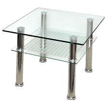 Glastisch 60 x 60 cm Beistelltisch Couchtisch Edelstahl 10mm Sicherheitsglas NEU