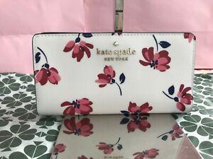 Kate Spade Staci Tea Garden Toss Large Slim Bifold Wallet White/Multi