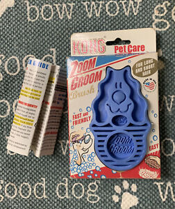 NeW KONG ZOOM GROOM Large Rubber BRUSH for Wet / Dry Grooming ~ Blue ~ All Coats
