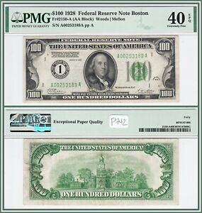 1928 Numerical $100 Boston Federal Reserve Note PMG 40 EPQ Extremely Fine FRN