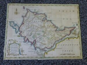 Antique Coloured Map of Anglesey by George Rollos - unframed