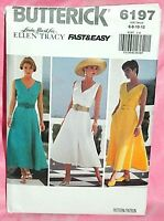 Uncut Butterick Misses Sz 6-12 Easy Flared V-Neck Summer Wrap Dress Pattern 6197