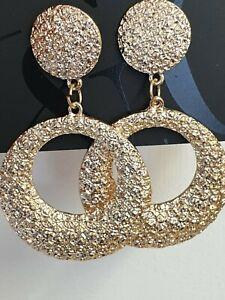 Statement Geometric Circle Hoop Drop Dangle Earrings Gold