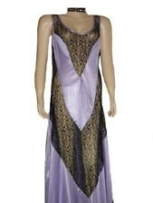 Sexy Lingerie Light Purple Long Gown see through Black Lace (Small)