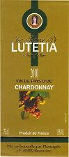 Etiquette de vin - Vin de pays d'Oc - Princesse de LUTETIA - Chardonnay - 2010