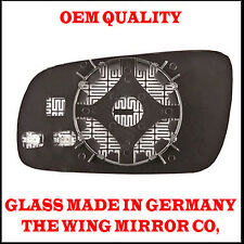 Audi A4 1997->2000 DRIVER SIDE Door/Wing Mirror Glass Blue Aspheric Heated& Base