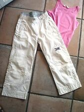 JEANS SPORT BLANC TAILLE  ELASTIQUEE GRIS BEST H&M +TEE SHIRT T8 ANS NEUF FILLE