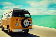 Poster VOLKSWAGEN BULLI VW - Woodstock - Retro Beach DESIGN - Manifesto 50x70!