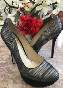 New Enzo Angiolini EATAVANA Silver Leather Platform Heel Pump Shoes Sz 8.5M $99