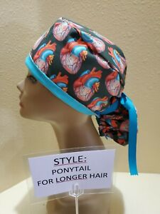Anatomical Hearts (colorful) Women's Ponytail Surgical Scrub Hat/Cap Handmade