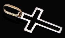 Dije en Forma de Cruz Sencilla de Oro Solido Reversible en 14k Amarillo y Blanco
