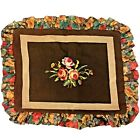 Vintage Rose Flowers Needlepoint  with Ruffle Fabric