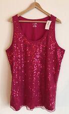 Lane Bryant Pink Sequin Sleeveless Women's Shirt Tank Top Plus Size 22/24 Cotton