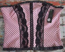 Rock steady pink polka dot retro bustier top rockabilly 50s women XL punk corset