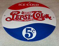 """VINTAGE DRINK PEPSI COLA 5 CENTS 11 3/4"""" PORCELAIN METAL SODA POP GAS & OIL SIGN"""