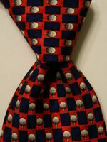 DUNHILL Men's 100% Silk Necktie ITALY Luxury Geometric Red/Blue/White/Black EUC