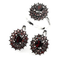 Unheated Oval Black Red Mozambique Garnet 7x5mm 925 Sterling Silver Ring Earring
