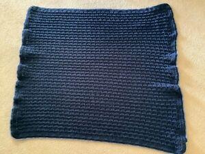 """Saydee's Handmade Creations"" Arm Chair Afghan-Dark Blue w Lt Blue Trim-NEW"