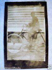 RPPC BOY ON OLD c 1910's BICYCLE BIKE REAL BROWNIE VELOX PHOTO UNPOSTED POSTCARD