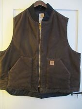 CARHARTT MENS XXL CABELA BROWN VINTAGE DUCK COTTON ZIPPERED VEST  VERY NICE COND