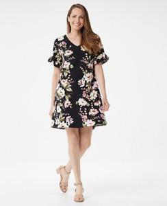 Isaac Mizrahi Floral Printed Stretch Crepe Woven Swing Dress - Black - Plus 18