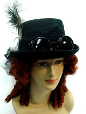 Dieselpunk Steampunk Riding hat black for women one size with goggles