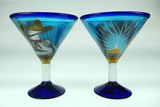 Mexican margarita, martini, hand blown, hand painted Poncho w cactus design (2)