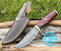 Custom HAND FORGED DAMASCUS STEEL HUNTING KNIFE W RED WOOD & Brass Guard Handle