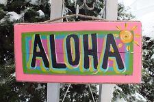 ALOHA TROPICAL HAWAIIAN BEACH TIKI HUT POOL HOT TUB PATIO SIGN PLAQUE