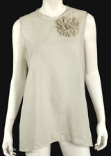 BRUNELLO CUCINELLI Off White & Gray Striped Cotton Flower Brooch Blouse XXL